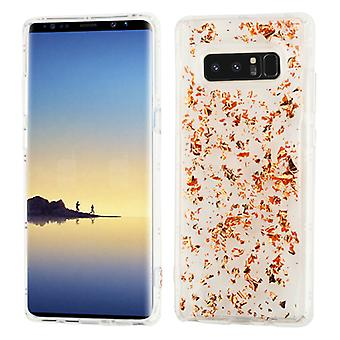 MYBAT Rose Gold Flakes (Transparent Clear) Krystal Gel Series Candy Skin Cover pour Galaxy Note 8
