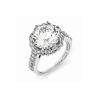 925 Sterling Silver Rhodium plated Fancy CZ Cubic Zirconia Simulated Diamond Ring Jewelry Gifts for Women - Ring Size: 6