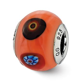 925 Sterling Silver finish Italian Murano Glass Reflections Italian Orange With Decorative Accents Glass Bead Charm Pend
