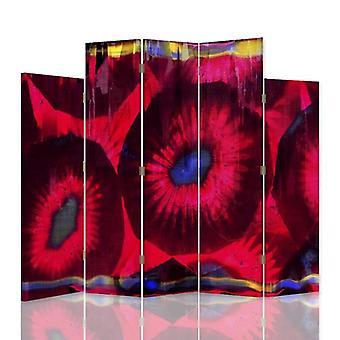 Dekorative Raumteiler, 5 Paneele, doppelseitig, 360 ° Drehbare Leinwand, stilisierte Blumen 2