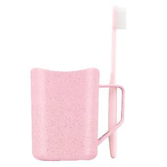 Caneca com suporte para a escova de dentes, cor-de-rosa