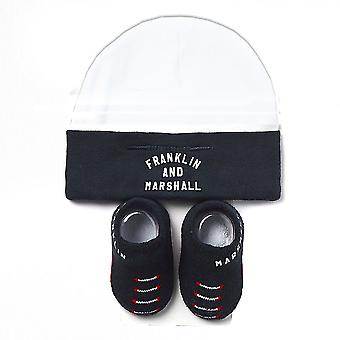 Franklin & Marshall Infant Baby Todder Hat & Bootie Set (0-6 Months)- Navy/White