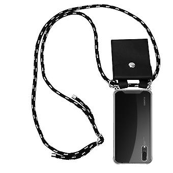 Cadorabo phone chain case for Huawei P20 case cover - silicone necklace cape cover with silver rings - cord band cord and removable case protective cover