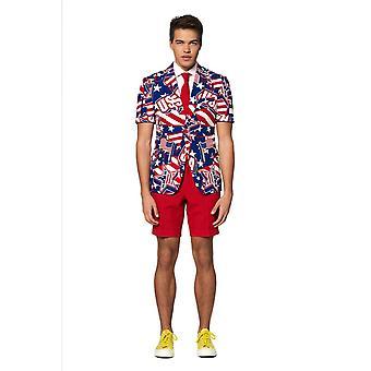 Mighty Murica USA America Suit Summersuit Costume Slimline Homme 3 pièces Premium