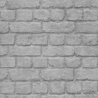 Zilver bakstenen effect behang Rasch 226751
