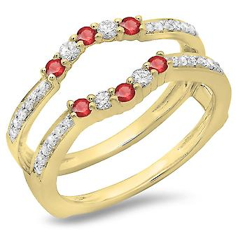 Dazzlingrock Collection 0.50 Carat (ctw) 10K Ruby et White Diamond Wedding Band 5 Stone Guard Ring 1/2 CT, Yellow Gold