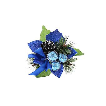 Blue Pine, Pin Cone, Baubles et Bow Christmas Pick for Crafts