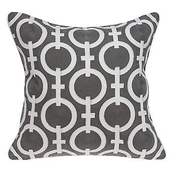 "20"" x 7"" x 20"" Transitional Gray and White Accent Pillow Cover With Down Insert"
