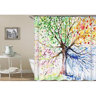Four Colors Tree Shower Curtain