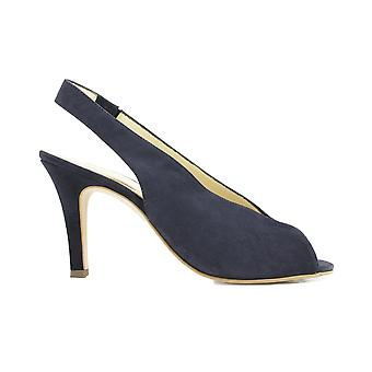 Paul Green 7475-02 Navy Suede Leather Womens Sling Back Peep Toe Sandals