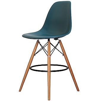 Charles Eames Style Teal Plastic Bar Stool