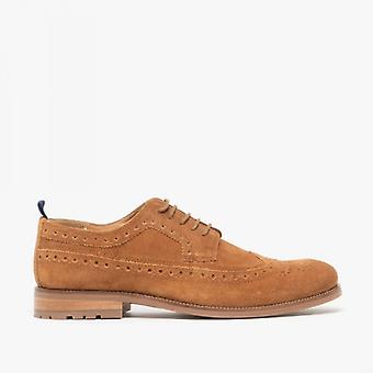 Catesby Shoemakers Chester Mens Suede Brogue Shoes Cognac