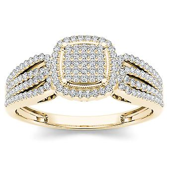 Igi certified 10k yellow gold 0.35 ct diamond halo cluster engagement ring