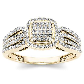 Igi certifierad 10k gult guld 0,35 ct diamant halo kluster förlovningsring