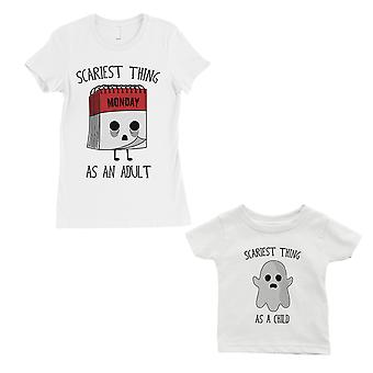 Scariest As Adult Child Mom and Baby Matching Gift Shirts White