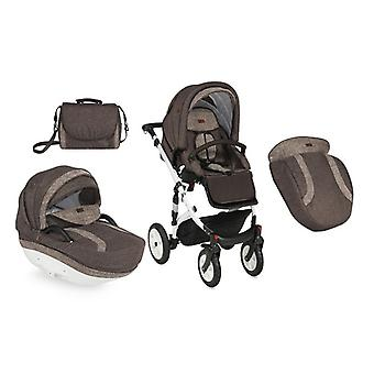 Lorelli combination stroller Mia 2 in 1 pneumatic tire, baby tub, sports seat rain protection