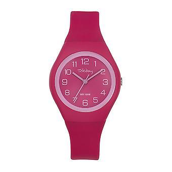 Watch Tekday 654632 - Silicone Pink Box Bracelet Silicone Rose Girl