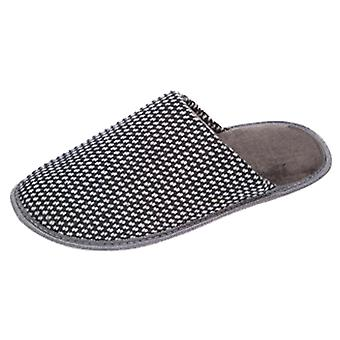 Coolers Mens Houndstooth Design Textile Lined Mule Slippers
