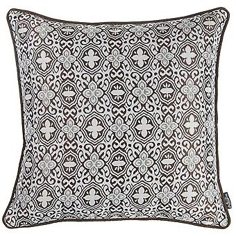 Brown and White Medallion Decorative Throw Pillow Cover