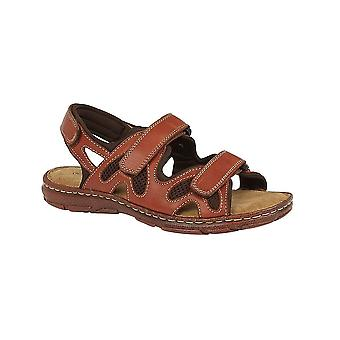 Roamers Brown Leather 3 Touch Fastening Adjustable Comfort Sandal