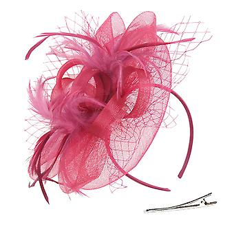 Fascinator Hat for Women Sinamay Bridal Cocktail Feather Mesh, Red 8, Size Large
