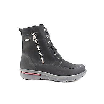 Waldläufer Hadessa 395972 191 001 zwart nubuck leer Womens Wide fit warme winter laarzen