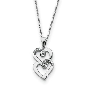 925 Sterling hopea kiillotettu kevätrengas CZ Kuutio Zirconia Simuloitu Diamond Love Heart kaulakoru 18 Tuuman Korut Lahjat f