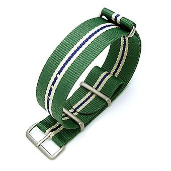 Strapcode n.a.t.o watch strap miltat 22mm g10 military watch strap ballistic nylon armband, brushed - green, beige, blue