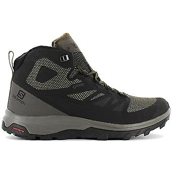 Salomon OUTLINE MID GTX - Gore-Tex - Contagrip - Men's Hiking Shoes Green-Black 404763 Sneakers Sports Shoes