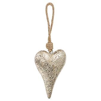 Hill Interiors Mottled Silver Rope Hanging Heart Decoration