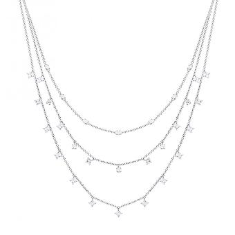 Diamonfire Silver & White Zirconia Multi-strand Necklace