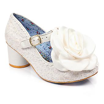 Womens Irregular Choice Kussen Bridal Fashion Low Heel Lacy Court Shoes