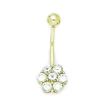 14k keltainen kulta CZ cubic zirkonia simuloitu timantti 14 mittari roikkuva kukka kehon korut vatsa rengas toimenpiteet 24x10mm Je