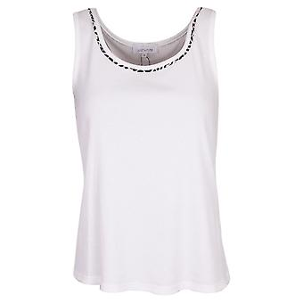 Just White White Sleeveless Top With Leopard Print Collar