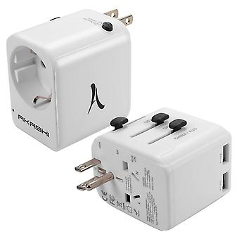 Travel Adapter US / UK / AUS / CN Sockets to EU and 2 USB Ports- Akashi, White