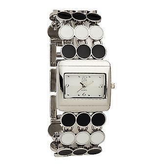 Eton Womens  Fashion Watch, Blk / Wht Enamel Disc Bracelet 3107J-BKWT