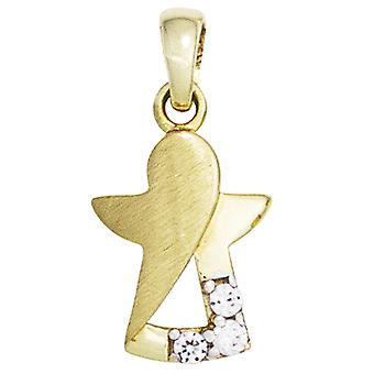 قلادة الأطفال الملاك الحارس الملاك 333 الذهب الأصفر الذهب مطفأ 3 Zirconia