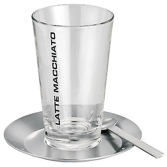 Blomus latte macchiato set CONO 1 glass with 1 plate and 1 spoon stainless steel matt