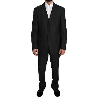 Z ZEGNA Wool Black Gray Two Piece 3 Button Suit -- KOS1850096