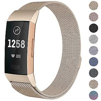 For Fitbit Charge 4 /Charge 3 Strap Milanese Wrist Band Stainless Steel Magnetic[Large (6.7
