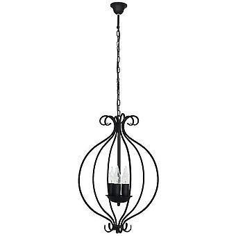 Lampe pendentif noir en métal lilas, L39xP39xA90 cm