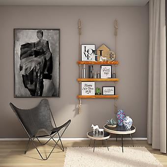 Mensola Feyikemi Holz Farbe, Ecru Holz, Juta, L75xP9xA125 cm