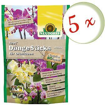 Sparset: 5 x NEWDORFF Azet® FertilizerSauvat orkideat, 40 tikkua
