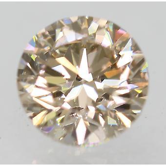 Cert 0.70 Carat Light Brown VVS1 Round Brilliant Natural Loose Diamond 5.43mm