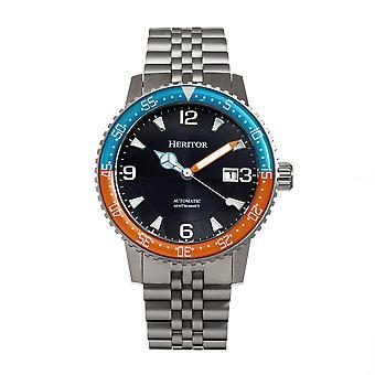 Heritor Automatic Dominic Bracelet Watch w/Date - Light Blue&Orange/Black