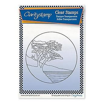 Claritystamp Lone Cypress Pyöreä Naamio + Hieno viiva selkeä leima