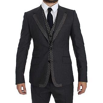 Dolce & Gabbana Harmaa Raidallinen 3-osainen Slim Suit Tuxedo