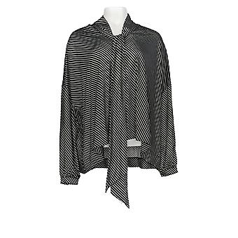 Laurie Felt Women's Top Long Sleeve Sjaal Blouse Black A305682
