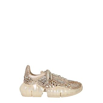 Jimmy Choo Diamondfxihgoldmix Kvinder's Guld Læder Sneakers