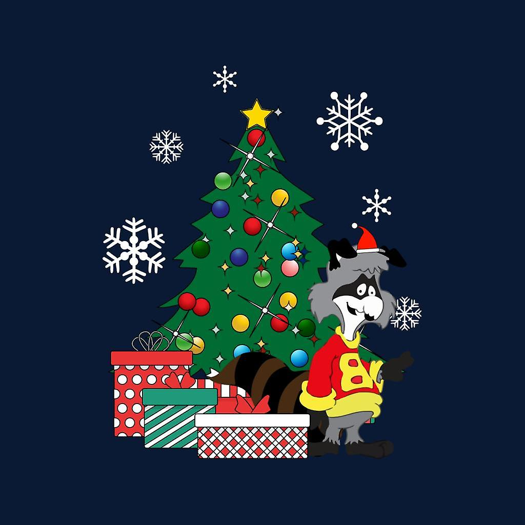 Bert Racoon Alrededor del árbol de Navidad Men's Chaqueta Varsity